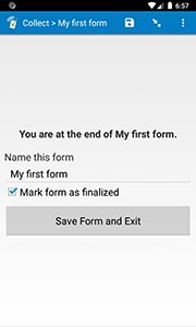 Finalizing a form